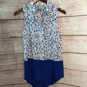 Anthro Maeve Size 0 Blue & White Blouse NO LINER